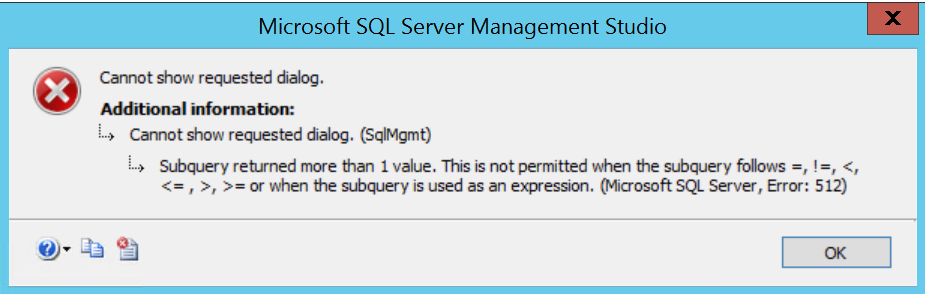 picture of database properties error dialog